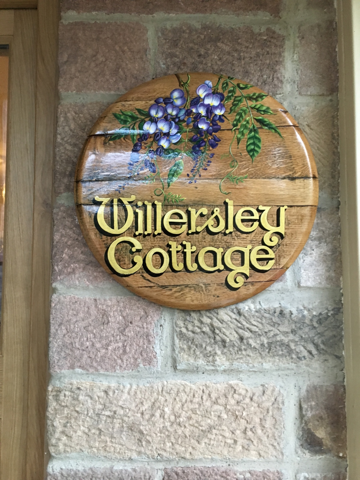 Oak Whiskey Barrel Lid House Signs Claire Duberry Illustrator Artist